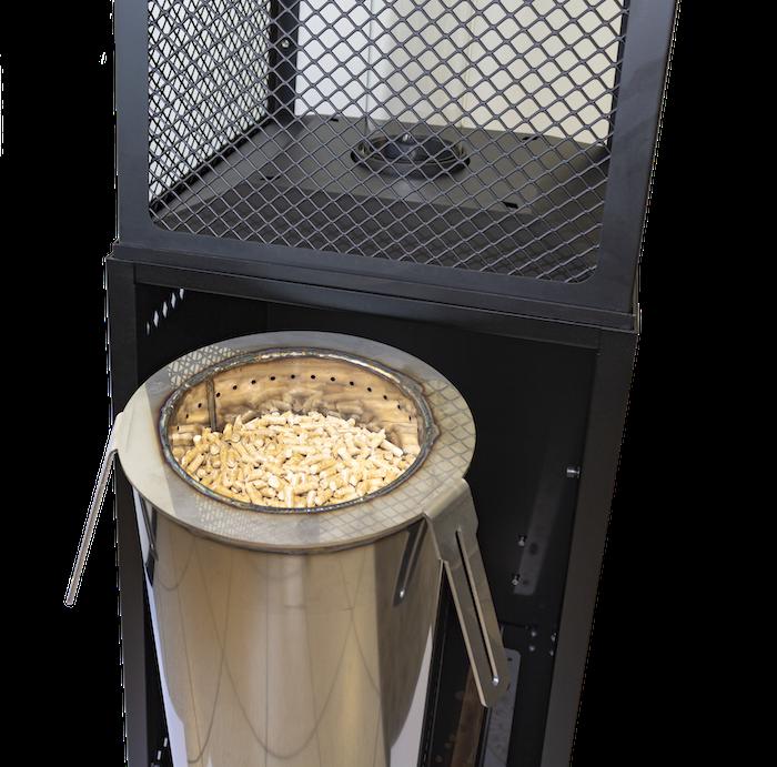 riscaldatore per esterni a pellet a basso consumo basso costo ecologico